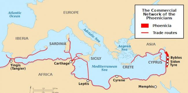 Trade routes of Phoenicians